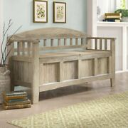 Entryway Storage Bench Rustic Solid Wood Seat Natural Washed Finish Farmhouse