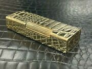 Dunhill Rolla Gas Lighter 18k Gold Crocodile Pattern Embossed Outer Jacket
