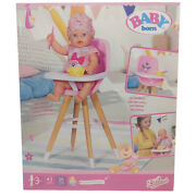 Baby Born High Chair Accessory For 43cm 17 Dolls Pink Seat Wood Effect Legs 3+