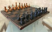 Chess Is Rare Handmade Tree Antiques Made In Rsfsr 1920 - 1930 Years Vintage