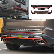 For Ford Edge 2015-2018 Black+red Front Rear Skid Plate Bumper Board Guard 1pcs