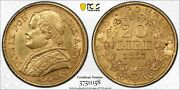 Italy Papal States 1867-r 20 Lire Gold Coin Uncirculated Pcgs Certified Ms63