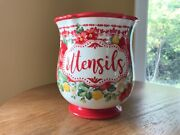 """The Pioneer Woman Vintage Floral 7.25""""x 6.5"""" Utensil Holder-farmhouse Red Boho"""