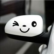 Two Universal Cute Emoji Face Car Side Mirrors Graphic Vinyl Decal Stickers