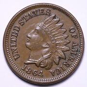 1864 Bronze Indian Head Cent Penny Choice Unc Uncirculated Ms E619 Qmm