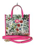 Secondhand Flora Print/canvas Leather Tote Bag/leather/crm/floral/550141