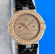 Menand039s Omega Constellation 18k Gold And Ss Watch On Strap - Day / Date - Diamonds