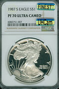 1987-s Proof Silver Eagle Ngc Pf70 Uhcam Mac Finest Mac Spotless