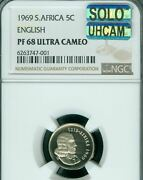 1969 South Africa 5 Cents English Ngc Pf68 Mac Solo Finest Uhcam 95 Minted