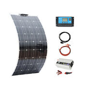 100w Flexible Solar Panel 12v System Kit 10a Charge Controller Pv Module Rv Car