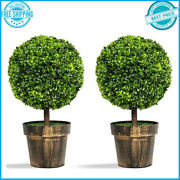 2 Pcs 24 Artificial Boxwood Topiary Ball Tree Indoor Outdoor Space Decoration