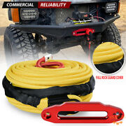 95and039 X 3/8 Synthetic Winch Rope Yellow 22000lb + Red 10 Aluminum Hawse Fairlead