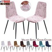 1-8 Crushed Velvet Dining Chair Covers Stretchable Christmas Slipcover Decor Us
