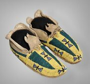 Indian Beaded Sioux Style Native American Cheyenne Moccasins Suede Leather M604