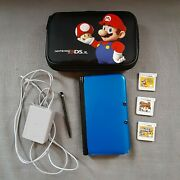 Nintendo 3ds Xl Blue/black Bundle Lot With Charger, Case, And 3 Games Free Ship