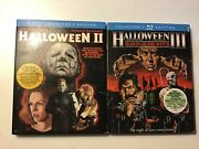 Shout- Scream Factory Blu Ray 2 Lot. Halloween 2 And 3. With Oop Slipcovers.