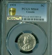 1931 Canada 5 Cents Pcgs Ms64 Pq Mac 2nd Finest Grade Spotless