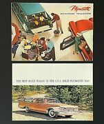 Vintage Lot Of 2 1958 1960 Plymouth Station Wagon Sales Brochures Custom Sport