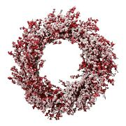 Snow Frosted Flocked Red Berry Christmas Wreath 22 Hanging Door Holiday Decor
