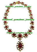 925 Sterling Silver Rose Cut Diamond Polki Ruby Necklace Victorian Style Jewelry