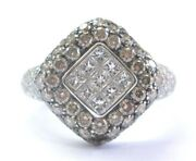 18kt Princess And Round Cut Multi Color Diamond White Gold Ring 2.65ct