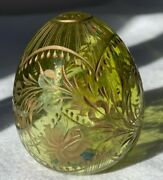 Faberge Egg Green Crystal Glass Gold Cut Floral Design Made In Russia