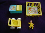 Vintage Fisher Price Nursery Lot F P Toys - Baby Playpen Changing Table Stroller