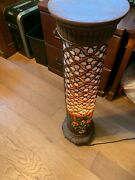 Pretty Vintage Stained Glass Pillar Floor Lamp Plant Stand With Free Shipping