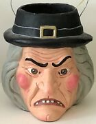 Vintage Poliwoggs Halloween Extra Large Witchandrsquos Head Bucket Artist Signed Dated