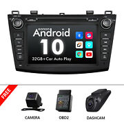 Dvr+cam+obd+android 10 Car Stereo Double Din Cd Player Dvd Gps For Mazda 3 10-13