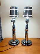 Vintage Wwii Pair Of Trench Art Shell Lamps, Nickel Plated With Shades, Mcm