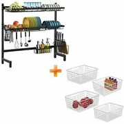 Over Sink Dish Drying Rack And Wire Storage Basket Ispecle Large Stainless St...