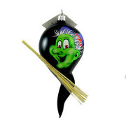 Laved Italian Ornaments Green Faced Witch Ghost Glass Halloween Broom F31572