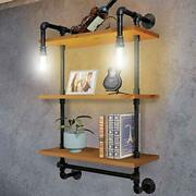 Industrial Pipe Metal Shelf Shelving Shelves With 3 Tiervintage Light Brown