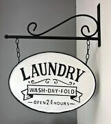 New Farmhouse Primitive Vintage Double 2 Sided Laundry Sign Wall Bracket Hanging