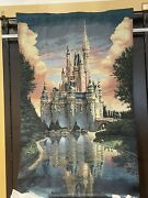 2021 Disney Parks Cinderella Castle 50th Anniversary Wall Hanging Throw New