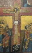 Antique 19thc Mother Of God Jesus Wood Panel Orthodox Christian Russian Icon
