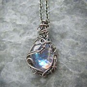 Vintage Design Moonstone Leaf Winding Necklace Party Jewelry Christmas Present