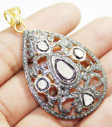 925 Sterling Silver Antique Rose Cut Diamond Pendant Victorian Style Jewelry