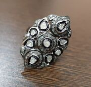 925 Sterling Silver Diamond Ring Rose Cut Antique Victorian Style Women Jewelry