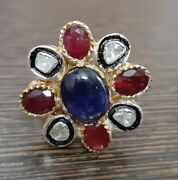 925 Sterling Silver Polki Diamond Ruby Blue Sapphire Ring Antique Look Jewelry