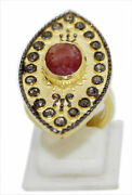 Silver Rose Cut Polki Diamond Ruby Sapphire Ring Victorian Antique Style Jewelry
