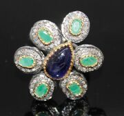 925 Sterling Silver Rose Cut Sapphire Emerald Diamond Ring Antique Style Jewelry