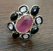925 Silver Rose Cut Ruby Sapphire Diamond Ring Antique Victorian Style Jewelry