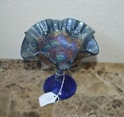 Antique Iridescent Carnival Glass Ruffled Bowl Compote Blue