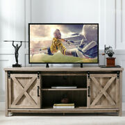 For 65and039and039 Tv Stand Farmhouse Sliding Barn Door Media Console Entertainment Center