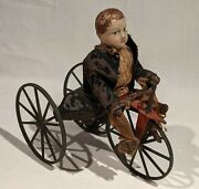 1870's Boy On Velocipede Toy, Clockwork, Stevens And Brown Toy Co., All Original