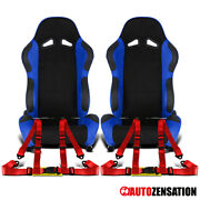 Reclinable Black Blue Suede Pvc Leather Sporty Racing Seats+red 4-point Belts