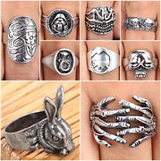 Menand039s Vintage Design Gothic Punk Skull Ring Cool Band Party Silver Rings Jewelry