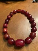 Rare Incredible Cherry Amber Graduated Beads Ladies Necklace 188 Grams